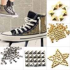 New 100Pcs Square Pyramid Rivet Metal Studs Spots Spikes Punk DIY Leathercraft