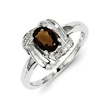 Sterling Silver Oval Smoky Quartz & .01 CT Diamond Ring 2.30 gr Size 6 to 9