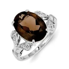 Sterling Silver Oval Smoky Quartz & .01 CT Diamond Ring 2.70 gr Size 6 to 8