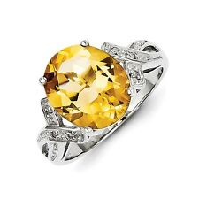 Sterling Silver Oval Cut Citrine & .02 CT Diamond Ring 2.48 gr Size 6 to 8