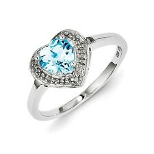 Sterling Silver Heart Shaped Blue Topaz .01 CT Diamond Ring 1.77 gr Size 6 to 9