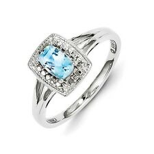 Sterling Silver Rounded Emerald Cut Blue Topaz & .01 CT Diamond Ring Size 6 to 9