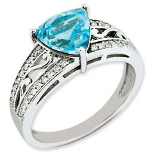 Sterling Silver Trillion Light Blue Topaz & .20 CT Diamond Ring Size 5 to 10