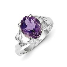 Sterling Silver Oval Cut Amethyst Ring 3.33 gr Size 6 to 8