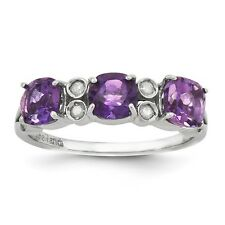 Sterling Silver Three Stone Amethyst & .10 CT Diamond Ring 1.80 gr Size 5 to 10