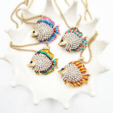 4 Style Gold Plated Crystal 3D Cute Tropical Fish Pendant Necklace Sweater Chain