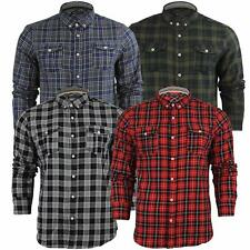 Mens T Shirt Long Sleeved Checked Brave Soul 'Cone' Casual Top Collared