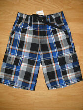 Boys Gymboree Slam Dunk Cargo Shorts Plaid Navy Blue Black Orange 4T 4 NEW NWT