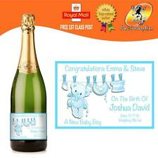 PERSONALISED BIRTH OF YOUR BABY BOY OR GIRL CHAMPAGNE PROSECCO BOTTLE LABEL