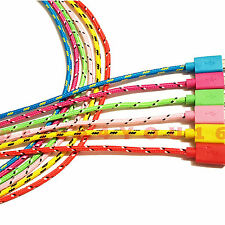 Strong Braided USB Data Sync Charger Cable Lead for iPhone 6 or Samsung Android