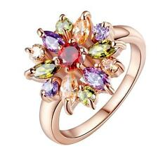 Ladies Fashion Jewelry Multicolor Crystals Bridal Wedding Ring Rose Gold US 6-9