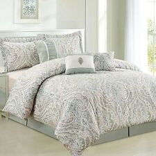 NEW Twin Full Queen King Bed Sage Green White Damask 7 pc Comforter Set Elegant
