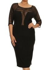 PLUS SIZE LONG SLEEVE MESH POLKADOT BLACK HOLIDAY CHRISTMAS DRESS NEW 1X 2X 3X