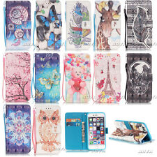Cute Patterns Phone Case for Samsung iPhone Huawei PU Leather Stand Flip Cover
