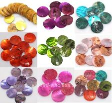 500 pcs Mussel Shell Flat Round Coin Charm Beads 18mm 9 Colours You Can Choose