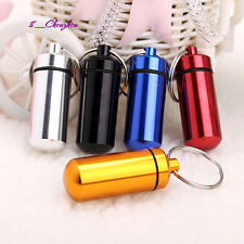 Hot! Waterproof Airtight Pill Fob Case Pill Holder ID Tag Notes Box w/Keychain C
