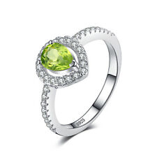 JewelryPalace Pear 0.8ct Natural Peridot Solid 925 Sterling Silver Ring Women