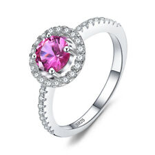 JewelryPalace Round 1.2ct Created Pink Sapphire 925 Sterling Silver Ring