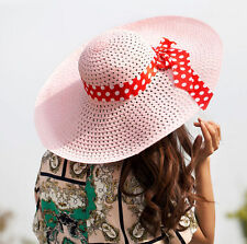 New Straw Hat Lady Women Summer Sun Derby Floppy Fold Cap Beach Hat Wide Brim