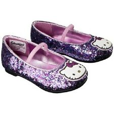 NWT Toddler Girls' Hello Kitty Shoes Pink Purple Glitter Ballet Slip On Size  5