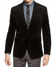 Bar III Slim Fit Solid Black Veour Two Button Blazer Sportcoat With Peak Lapels