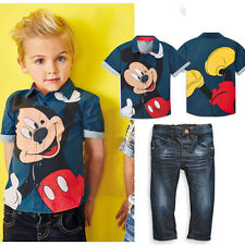 Baby Boys Mickey Mouse Shirt Tops + Jeans Set Fashions Kids Clothes Outfits