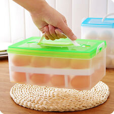 Double Layer Refrigerator Egg Box Case 24 Grid Holder Storage Container SDE