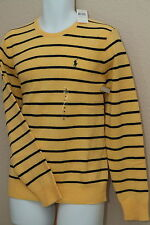 Polo Ralph Lauren 100% Lambswool Crewneck Striped Sweater Yellow Navy New NWT