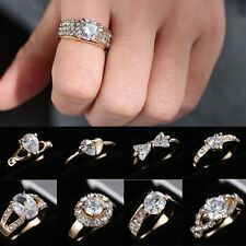 Sz8 18K CZ Gold Filled Crystal Womens Wedding Engagement Sapphire Ring Jewellery