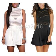 Hot Casual Sexy Solid Stripe High Collar Sleeveless Perspective Shorts Rompers