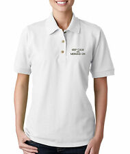 Keep Calm And Mermaid On Embroidery Embroidered WOMAN 100% Cotton Polo Shirt