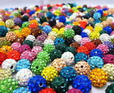 10Pcs Spacer Beads Round Pave Crystal Rhinestones Czech Clay Disco Ball New