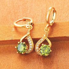 Korean jewelry Womens yellow gold filled CZ Rainbow crystal Dangle Drop earrings