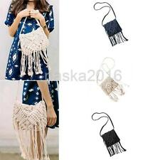 Mini Crochet Cross-Body Bag Rattan Shoulder Bag Beach Tassels Bag for Women
