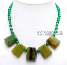 """Genuine 20*25mm Green Trapezoid Natural agate & 6mm Green jade 17"""" necklace-5975"""