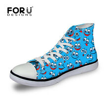 New Colorful Smile Casual Canvas Sneakers Lace-up Athletic High Top Womens girls