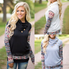 Womens Long Sleeve Button Printed Pullover T-Shirts Tops Loose Casual Blouses