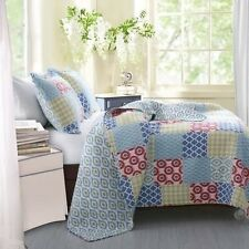 NEW Twin Full Queen King 3 pc Blue Green Red Patchwork Quilt Coverlet Bed Set