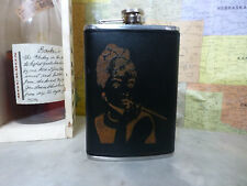 Custom Audrey Hepburn Engraved Leather Dyed Stainless Steel Flask Wedding Gift