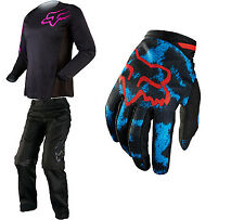 Fox Racing Black/Pink Womens Blackout Jersey & Pants w/ Blue/Red Dirtpaw Gloves