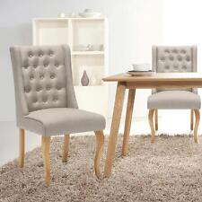Linen Fabric Tufted Dining Chairs Upholstered Side Accent Chairs Furniture G2L8