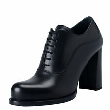 Prada Women's Black Leather High Heel Ankle Boots Shoes Sz 7 7.5 8