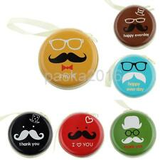 Cute Zipper Round Mustache Coin Purse Earphone Key Case Mini Storage Bag Pouch