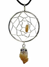 Dreamcatcher Pendant Necklace Rough Natural Point & Crystal Healing Stone