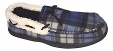 URBAN PIPELINE Men's M L XL Blue Black Plaid Boat Slip On Moccasins Slippers