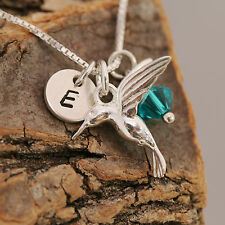925 Sterling Silver Personalised Hummingbird Pendant Necklace+Birthstone+Initial