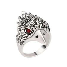 Party Jewelry Vintage Ring Silver Crystal Animal Eagle Head Shaped Mens Ring