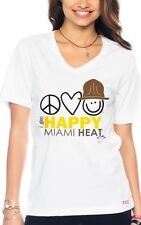 Peace Love World I am Happy Miami Heat Unisex  V-Neck T-Shirt – White S/XS/M