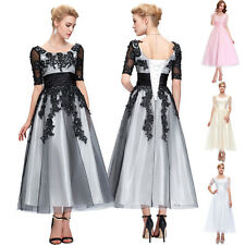 Vintage Lace Half Sleeve Formal Evening Wedding Guest Prom TEA Dress Plus Size