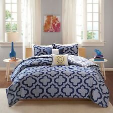 NEW Twin XL Full Queen Bed Navy Blue White Ogee Geometric 5 pc Comforter Set NWT